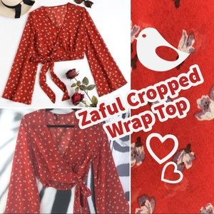 Zaful Bell Sleeve Floral Cropped Wrap Top FLAWED